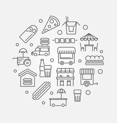 Street food festival outline vector