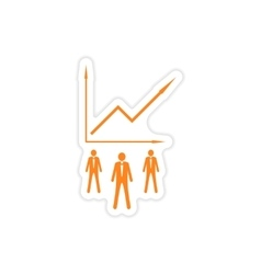 Stylish sticker on paper businessmen and schedule vector