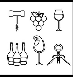 take out cork grape bottles and glass wine vector image