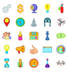 Temporary difficulty icons set cartoon style vector