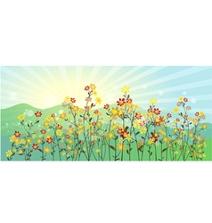 The green meadow with flowers vector
