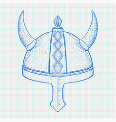 Viking helmet horned metal hat hand drawn sketch vector