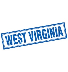 West Virginia blue square grunge stamp on white vector