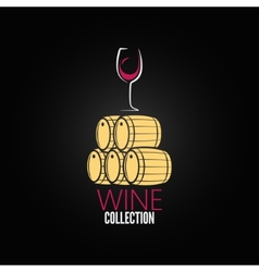 wine glass cellar barrel design background vector image