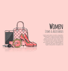 women items and accessories fashionable web banner vector image