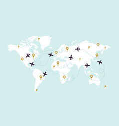 world map plane tracks aviation track path on vector image