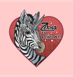 zebra unicorn grunge love background vector image