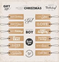 Calligraphic christmas and birthday gift tags vector