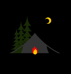 camping night isolated sun forest and tent vector image