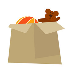 cardboard box with childish toys isolated cartoon vector image vector image