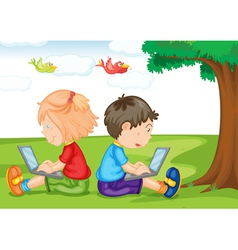kids with laptop under a tree vector image vector image