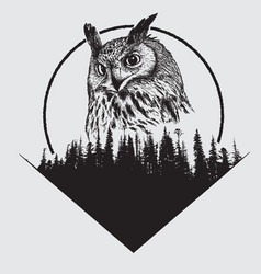 owl on forest silhouette background vector image