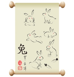 Rabbits on Chinese handscroll vector image vector image