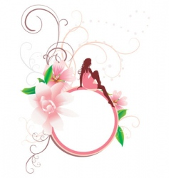 girl and flowers round banner vector image