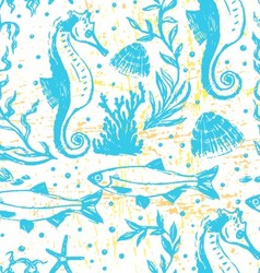 Ink hand drawn sealife seamless pattern vector image vector image