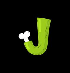 letter j zombie font monster alphabet bones and vector image