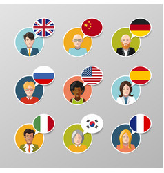 nine colorful user avatars with different language vector image vector image