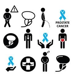 Prostate cancer awareness mens health icons set vector image