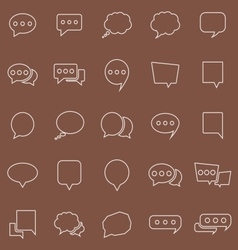 Speech Bubble line color icons on brown background vector image vector image