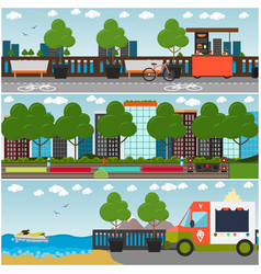 training outside interior flat poster set vector image vector image