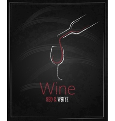 wine glass chalkboard menu background vector image vector image