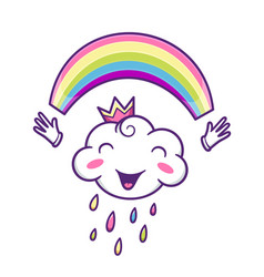 cute cloud character with colorful rainbow vector image