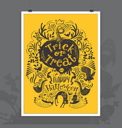hand drawn halloween lettering poster vector image vector image