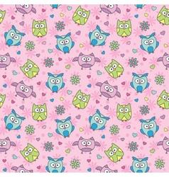pattern of cartoon owls vector image vector image