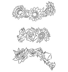 set of black and white contour drawing of flower vector image vector image