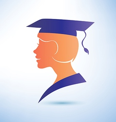 young woman silhouette with graduation cap vector image