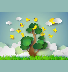 bird flying around a tree vector image