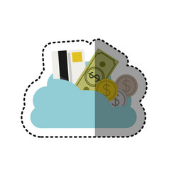 Sticker cloud in cumulus shape with elements vector