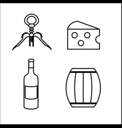 take out cork cheese barrel and bottle of wine vector image