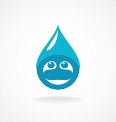 Water drop with fun face logo template vector image