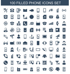 100 phone icons vector