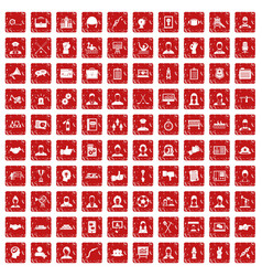 100 team work icons set grunge red vector image