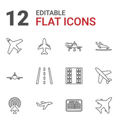 12 airline icons vector image