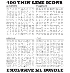 400 thin line icons bundle vector