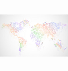 abstract colorful polygonal world map with dots vector image