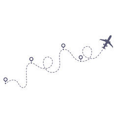 Airplane dotted route line flight tourism route vector