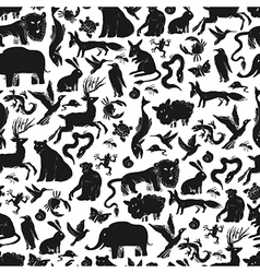 Animals silhouettes pattern seamless vector