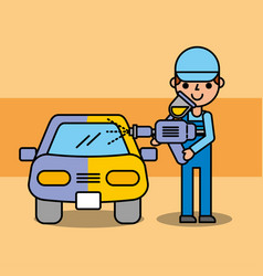 auto mechanic painting car equipment service vector image