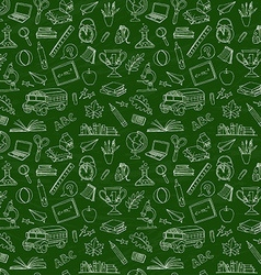 Back to school seamless pattern of kids doodles vector image