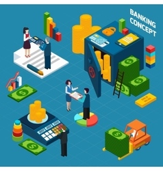 Banking Isometric Design Concept set vector