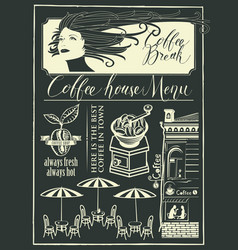 banner on a coffee theme with girl and street cafe vector image