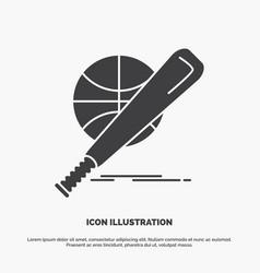 baseball basket ball game fun icon glyph gray vector image