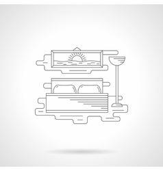 Bedroom interior flat line icon vector