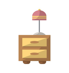 bedside table with lamp icon in flat style vector image