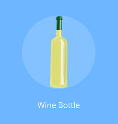 bottle of white wine isolated on blue background vector image