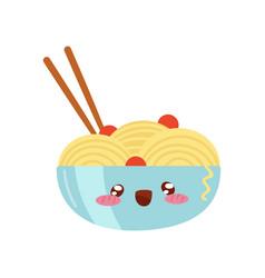 Bowl of noodles and chopsticks cute kawaii asian vector